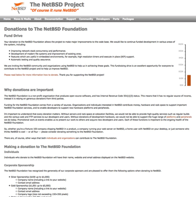 Donations to The NetBSD Foundation