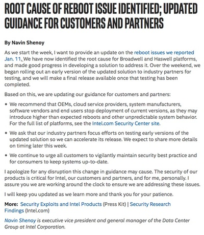 Root Cause of Reboot Issue Identified; Updated Guidance for Customers and Partners|Intel