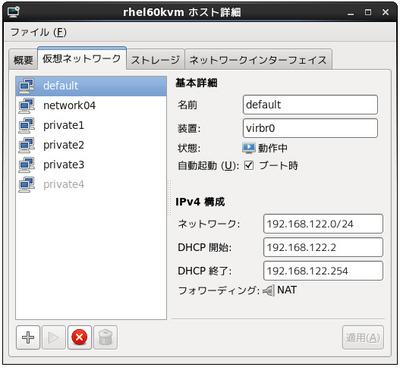 図2 virt-managerの仮想ネットワーク管理画面