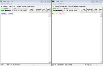 図4 ターミナルでの通信テスト(左:送信側画面,右:受信側画面)