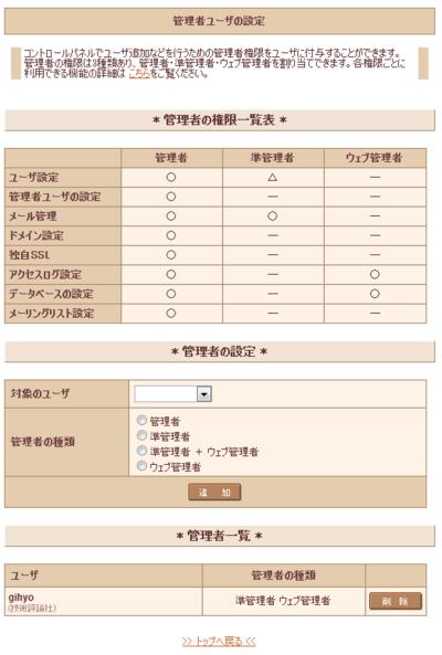 「管理者ユーザの設定」画面。準管理者やWeb管理者といった権限も用意されており,ユーザに合わせて選択できます。