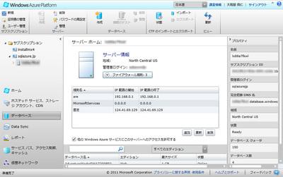 図1 Windows Azure管理ポータル上のファイアウォール規則
