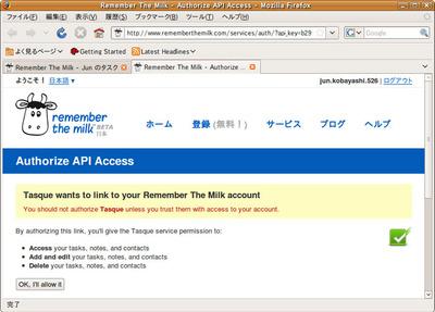 図4 APIを使ったアクセスの許可確認ページ