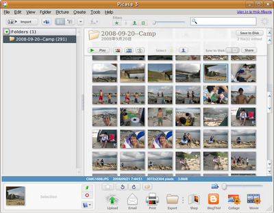 図2 Google Picasa 3.0 for Linux