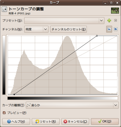 図3 GIMPの[色]-[トーンカーブ]ツール