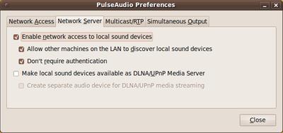 図3 接続される側の設定。「Enable netwok acess to local sound devices」「Allow other machines on the LAN to discover local sound devices」「Don't require authentication」<wbr/>にチェックを入れる