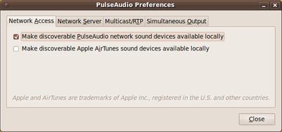図4 接続する側の設定。「Make discoverable PulseAudio network sound devices available locally」にチェックを入れる