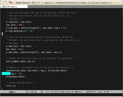 図1 C言語のソースファイルを開いたスクリーンショット。キーワードが色別に表示されている