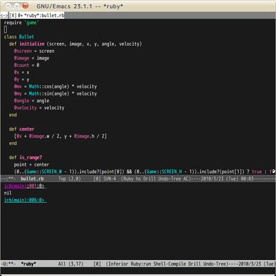 図1 Emacs上でirbを起動して,その場で式を評価する