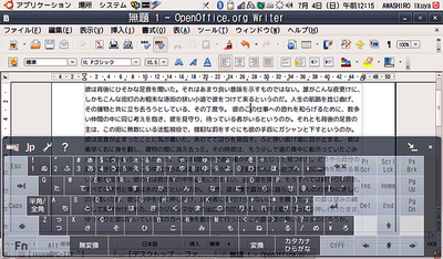 図2 画面下半分がSoftStylusで,大きさと透過度を変更している。ディスプレイの明るさにもよるが,下の文字が見えていることがわかる