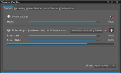 図1 PulseAudio Volume ControlでのALSA Plug-in