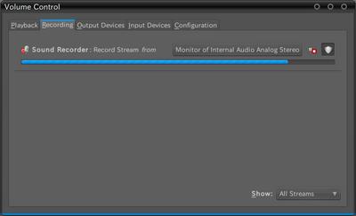 図2 PulseAudio Volume ControlでのRecordingタブ