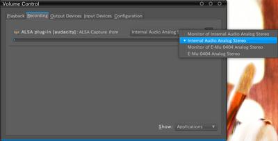 図7 Internal Analog Stereoを選択
