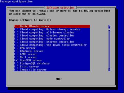 図1 タスクの選択画面。DNSサーバ,LAMPサーバ,メールサーバなどのタスクが用意されている