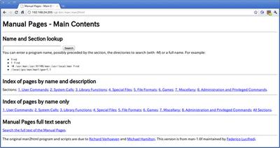 図3 man2htmlのメイン画面。検索ボックスにマニュアル名を入力する際には,manコマンド同様に章を指定しての検索も可能