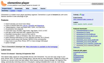 図1 ClementineのページにはUbuntu向けだけでなくFedora用のrpmやMac用のdmg,Windows用のexeなどが用意されている