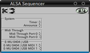 図5 Aconnectguiの画面。EMU 0404 USBのMIDI入出力ポートが見えている