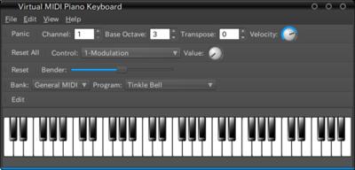 図7 vmpkの画面。サウンドフォントを読み込ませ,外部からMIDI信号を入力することで単独で演奏することもできる