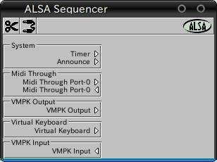 図8 Aconnectguiの画面。vkeybdはMIDI入力ポートのみ,vmpkはMIDI入出力ポートを開く