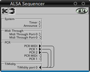 図12 Aconnectguiの画面。timidity++と,USB接続のPCR-M30とを接続