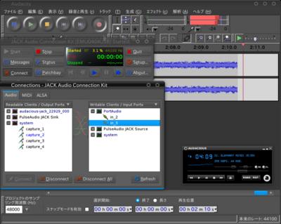 図7 JACK ControlのConnectionウィンドウ。AudacityのポートはバックエンドであるPort Audioで表示されている。これらポートをマウス操作で接続し,音声データを流す