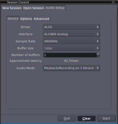 図1 Ardour起動時のJACKサウンドサーバ設定画面