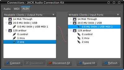 図4 ConnectウィンドウでArdourのポート「seq」と,ハードウェア/ソフトウェアのポートを接続