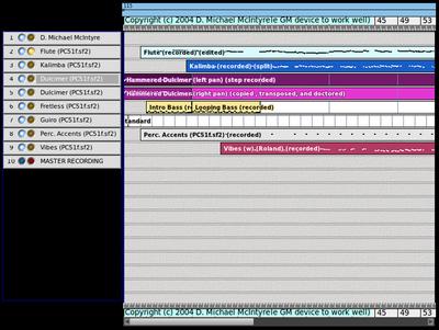 図2 トラックとセグメント。Rosegardenには豊富なサンプルデータが含まれており,初心者は参照することで使い方を学習することもできる
