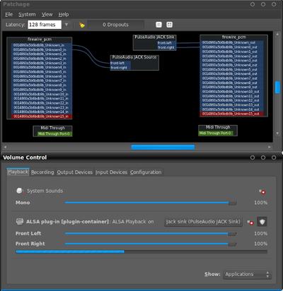 図4 PatchageとPulseAudio Volume Control。連携時には両方をつなぐSink/Sourceとplayback/captureが利用可能となる