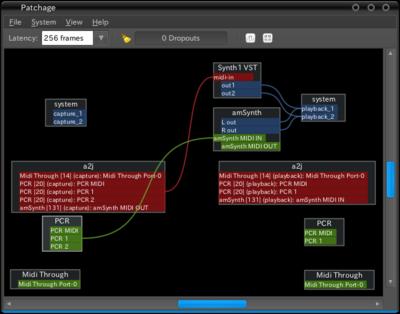図7 a2jmididを起動してからpatchageでMIDIポートを見ると,ALSAシーケンサー上で認識されたポートが,そのままJACKシーケンサーから認識されている状態を確認できる。なお,紺はJACKオーディオ機能,緑はALSAシーケンサー機能,赤はJACKシーケンサー機能で認識されているポートを示し,同じ色のポートのみ接続が可能