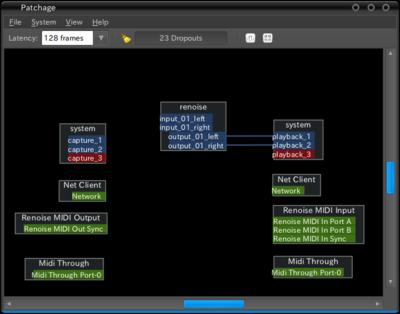 図8 Patchageでポートを見ると,NetworkというMIDI入出力ポートがマスター/スレーブ共に開いているのがわかる