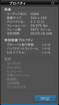 図4 動画ファイルのプロパティ。今回は音声を持たないファイルを読み込ませている