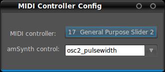 図9 MIDIアサイン。図ではハードウェアMIDIコントローラーの17番のコントロールチェンジでオシレーター2のパルス幅を調整できるようにしている