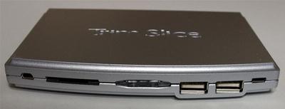 図4 Trim Sliceの前面ポート。左からRS-232C/UART,SDカードスロット,電源スイッチ兼LED,USB2.0 x2,microUSB