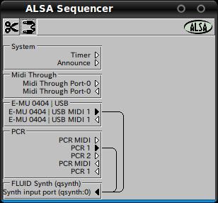 図6 alsa_seqでALSAシーケンサー機能を選択した場合,acconectguiなどでMIDIポートを自由に接続することができる。jackを選択した場合はPatchageなどのソフトウェアでポート接続ができるが,ALSAシーケンサー機能を利用する方が便利