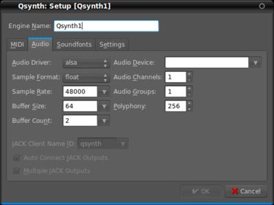 図2 QSynthの音声出力設定画面
