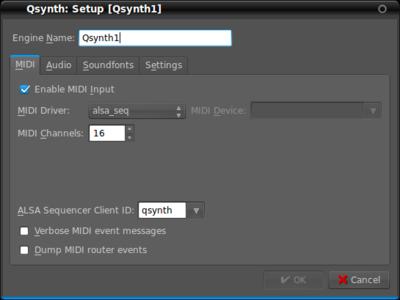 図5 QSynthのMIDI入力設定画面