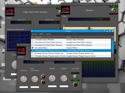 図4 zynjackuはLV2のプラグインエフェクトのホストプログラム。ここではInvada Studioのプラグインスイートをロードしている
