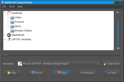 図2 GUPnP AV Control Pointの画面