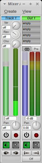 図6 ミキサーウィンドウでMIDI信号の発生を確認