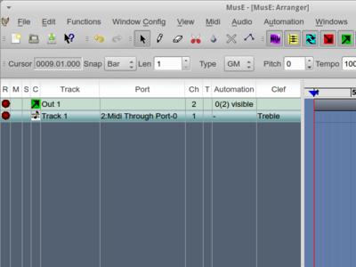 図3 MIDIトラックを追加。ここでは「Track 1」として表示されている