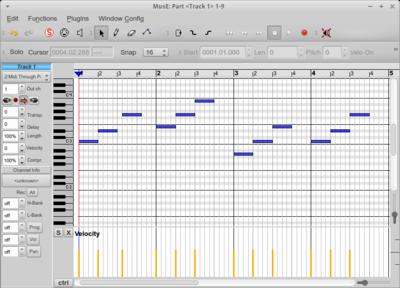図5 ピアノロールウィンドウでパターンを入力