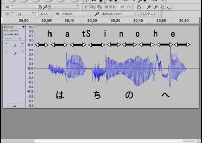 図2 合成した音声の波形をAudacityで表示した例。上の記号が「音素」を,その下の矢印が「2つの音素が連続したひとつづきの音」を表し,一番下に発音を表示した。表示は便宜的なものであり厳密なものではない