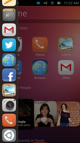 図3 Ubuntu Touchのランチャー
