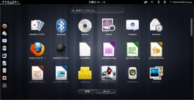 図5 アクティビティ画面が従来とだいぶ変わっている。また,GNOME 3.8でもAppIndicator Support拡張が使用できる
