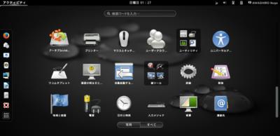 図2 Ubuntu 13.10のGNOME Shellアクティビティ画面