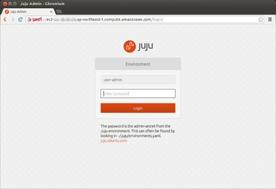 図1 Juju GUIのログイン画面