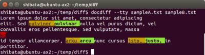 図2 wdiffのように単語で区切りつつ,色分けして表示される
