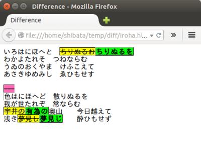 図4 文字単位の差分をHTMLとして出力した例
