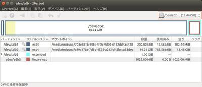 図1 microSDHCカードにパーティションを設定する